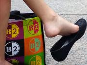 Candid Teen Shoeplay Feet Legs Dangling Public