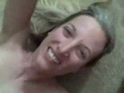 Super hot wife gets huge load of cum in her mouth!