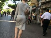 grey seethru dress with bubble butt and thong showing