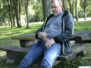 Older swedish man wanking in a public park, and cums