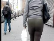 Latina Milf booty in green leggings slo-mo