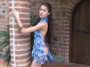 Hot Teen Latina Blue Boa