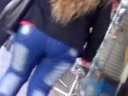 Sperm on her sweater and hair