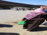 sexy hijab wife shaking her big ass in the street