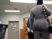 Candid Ebony Gilf in Gray Leggings 4...
