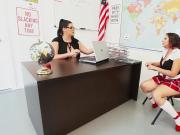 Teachers Sara Jay & Angelina Castro Fuck Pupil Gia in Class!
