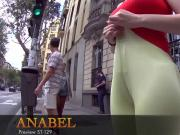 Curvy teen walks down the street flaunting cameltoe