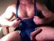 Hairy Big Dick Muscle In Wrestling Singlet Jerk Off & Cum