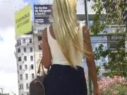 Candid hot Blonde in Skirt and High Heels