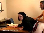 Plump secretary screwed over her desk