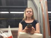 Blond candid feet in train and face shot too
