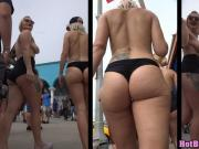 Big ass thong latina bikini babe exposed hidden beach spy