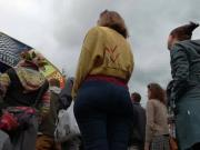 Festival Bubble Butt Arse in Tight Jeans Dancing 1 Face