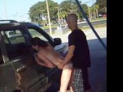 SEX IN PUBLIC CAR WASH FUCKING HER PUSSY DOGGY STYLE BY CAR