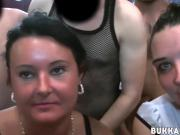 Handsome babes with big tits sucking cocks at bukkake party