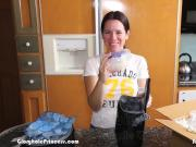 House wife plays with 50 loads of frozen cum from a stranger