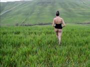 My Naked Girlfriend Walking And Dancing In Panorama Mountain