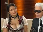 Salma Hayek flaunts Great Cleavage in a Bavarian Dress