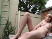 Charlotte Fucks herself on patio with dildo