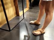 Gf's hot legs sexy feets blue toes at shopping
