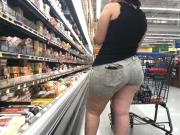 Wide Butt BBW Latina with Ass Eating Shorts Part 1