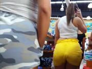 Candid voyeur three thickies big ass tight shorts booty