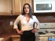 Stockinged realtor doggystyled during viewing