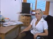 busty secretary takes cumshot on her pussy