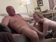 Older guy checks out younger British blonde