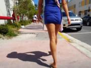 Candid voyeur hot babe thick and tight in blue dress