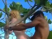 interracial threesome couple jungle tree fun