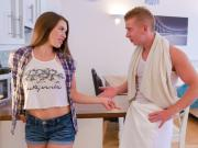 BITCHES ABROAD - Tourist babe gets to suck a fat cock