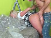 Stud drills cute blondes narrow butt