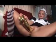 Hot wife Claudia punishes blonde maid Sharka