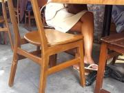 nice crossed legs hot feets under table