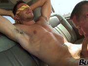 Handsome guy tricked by a bitch to dick a gay hunk in van