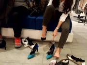 Gf tries new stilettos sexy feets soles toes
