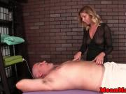 Femdom masseuse humiliating guy with hj