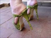 Snake Skin Platform High Heel Mules