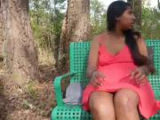 daring girl masturbating on chair outside