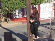 Thick hipped latina in leggings