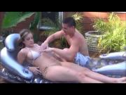 Katie makes step brother rub sun lotion on her hot body