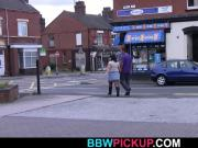 Black street hooker and faty in fishnets