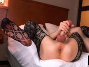 Alluring tranny amateur enjoys her solo debut