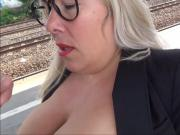 Milf sucking a Young Boy on the Train Station