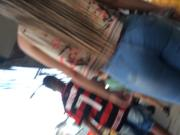 Cute blonde walking n jeans pants