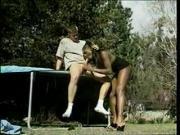 Ebony shemale sucks and fucks on trampoline
