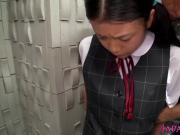 Innocent asian schoolgirl tasting cum closeup