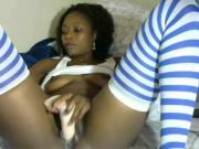 Pretty Ebony Using a Dildo