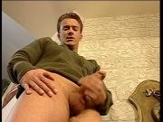 Soldier jerks off his dick